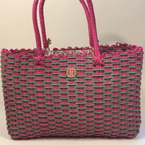 Rare Lilly Pulitzer plastic wicker tote pink!green